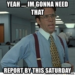 Yeah If You Could Just - Yeah .... im gonna need that  Report by this saturday