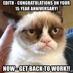 Grumpy Cat 2 - Edith - Congratulations on your 15 year anniversary! NOw - GET back to work!!