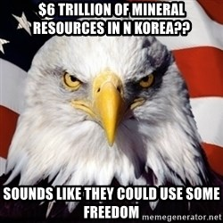 Freedom Eagle  - $6 trillion of mineral resources in n korea?? Sounds like they could use some freedom