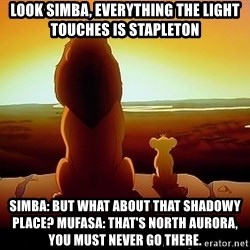 simba mufasa - Look simba, everything the light touches is stapleton SiMba: but what about thaT shadowy place? Mufasa: that's North aurora, you must never go there.