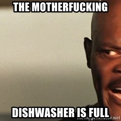 Snakes on a plane Samuel L Jackson - the motherfucking dishwasher is full