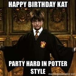 Harry Potter Come At Me Bro - HAPPY BIRTHDAY KAT PARTY HARD IN POTTER STYLE