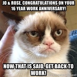 Grumpy Cat 2 - jo & rose, Congratulations on your 16 year work anniversary! now that is said, get back to work!