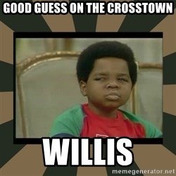 What you talkin' bout Willis  - good guess on the crosstown Willis