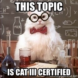 Chemistry Cat - This topic Is cat Iii certified