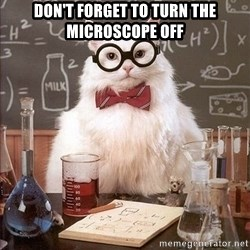 Chemistry Cat - Don't forget to turn the microscope off