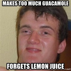 really high guy - MAKES TOO MUCH GUACAMOLE Forgets Lemon Juice