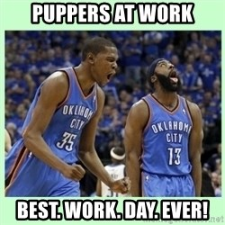 durant harden - puppers at work best. work. day. ever!