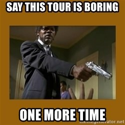 say what one more time - Say this tour is boring one more time
