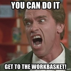 Arnold - YOu can do it get to the workbasket!