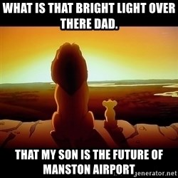 Simba - What is that bright light over there Dad. That my son is the future of Manston Airport