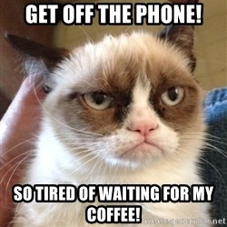 Grumpy Cat 2 - Get off the phone! So tired of waiting for my coffee!