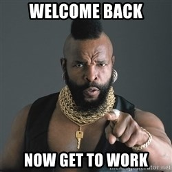 Mr T Fool - welcome back now get to work