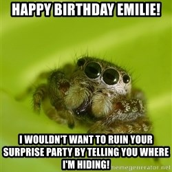 The Spider Bro - Happy birthday emIlie! I wouldn't want to ruin your surprise party by telling you where I'm hiding!