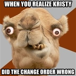 Crazy Camel lol - When you realize Kristy Did the Change order wrong