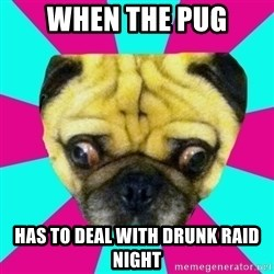 Perplexed Pug - When the Pug Has to deal with drunk raid night