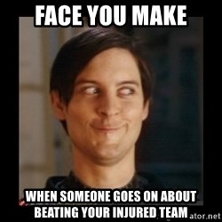 Tobey_Maguire - face you make when someone goes on about beating your injured team