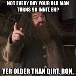 Hagrid - Not every day your old man turns 90 innit, eh? Yer older than dirt, Ron.