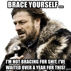 Brace yourself - BRACE YOurSELF ... I'm not bracing for shit, i've waited over a year for this!