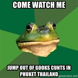 Foul Bachelor Frog - Come watch me Jump out of Gooks cunts in phuket thailand