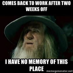 no memory gandalf - comes back to work after two weeks off i have no memory of this place
