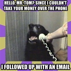 Yes, this is dog! - Hello, Mr. Tom? SINCE I COULDN'T TAKE YOUR MONEY OVER THE PHONE I followed up with an email