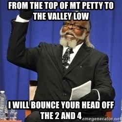 the rent is too damn highh - From the Top of Mt Petty To the valley Low i Will bounce your head off the 2 and 4