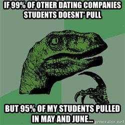 Raptor - If 99% of other dating companies students doesnt' pull but 95% of my students pulled in may and june...