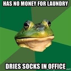 Foul Bachelor Frog - Has no money for laundry dries socks in office