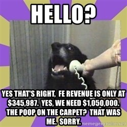 Yes, this is dog! - hello? yes that's right,  fe revenue is only at $345,987.  Yes, we need $1,050,000.  The poop on the carpet?  That was me.  Sorry.