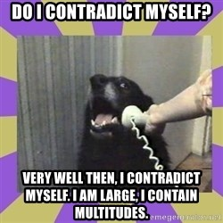 Yes, this is dog! - Do I contradict myself? very well then, i contradict myself. I am large, i contain multitudes.