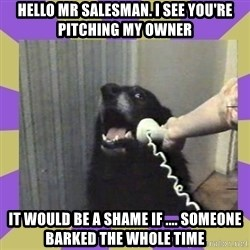 Yes, this is dog! - Hello Mr salesman. I see you're pitching my owner It would be a shame if .... someone barked the whole time