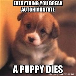 cute puppy - Everything you break autohighstate A puppy dies