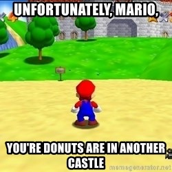Mario looking at castle - Unfortunately, Mario, You're donuts are in another castle