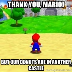 Mario looking at castle - Thank you, Mario! But our donuts are in another castle