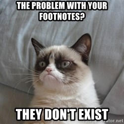 Grumpy cat good - The problem with your footnotes? they don't exist