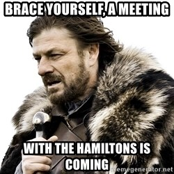 Brace yourself - Brace YOurself, A Meeting with the hamiltons is coming