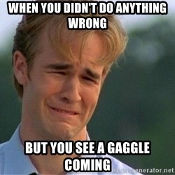Crying Man - When you didn't do anything wrong But you see a gaggle coming