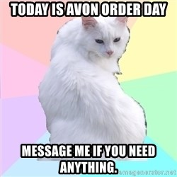 Beauty Addict Kitty - today is Avon order day message me if you need anything.