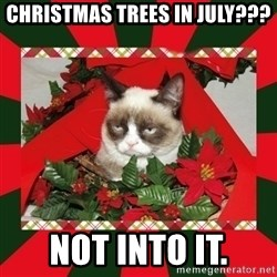 GRUMPY CAT ON CHRISTMAS - christmas trees in july??? not into it.