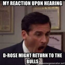 michael scott yelling NO - My reaction upon hearing D-rose might return to the Bulls