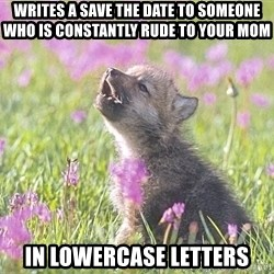 Baby Insanity Wolf - writes a save the date to someone who is constantly rude to your mom in lowercase letters