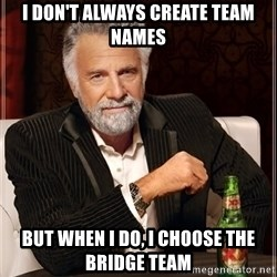The Most Interesting Man In The World - I DON't ALWAYS CREATE TEAM NAMES BUT When I do, I CHOOSE THE BRIDGE TEAM