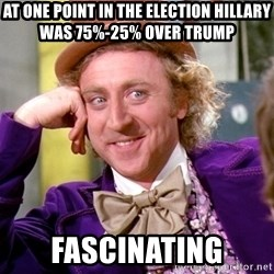 Willy Wonka - At one point in the election hillary was 75%-25% over trump FascinAting