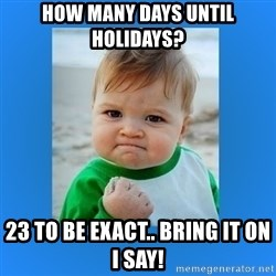 yes baby 2 - how many days until holidays? 23 to be exact.. bring it on i say!