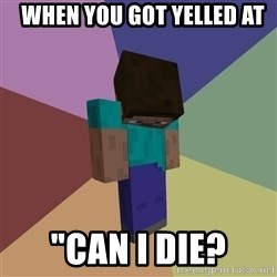 "Depressed Minecraft Guy -   when you got yelled at ""can i die?"