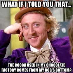 Willy Wonka - What if i told you that... The Cocoa used in my chocolate factory comes from my dog's bottom?