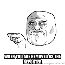 i'm watching you meme -  WHEN YOU ARE REMOVED AS the REPORTER