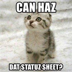 Can haz cat - Can Haz Dat Statuz Sheet?
