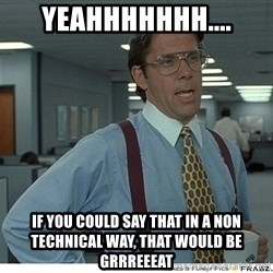 That would be great - yeahhhhhhh.... if you could say that in a non technical way, that would be grrreeeat